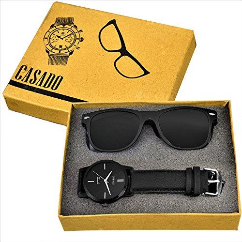 CASADO MATTE BLACK SLIM Series Round Analog Wrist Watch and 1 MATTE Black Reflector Wayfarer Sunglasses COMBO SET for Men's AND Boy's