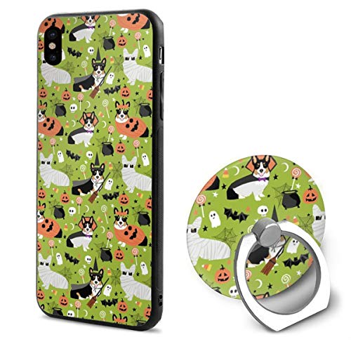 False warm warm iPhone XR Ring Bracket Case TriColored Corgi Halloween Costumes Cute Dog TPU Bumper Protective Case for Apple iPhone XR 6.1 Inch 2018 Release Crystal Lace Design