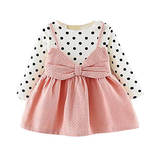 MEIbax Baby Mädchen Langarm Dot Bowknot Prinzessin Kleid Kleidung Outfits Anzug Mini Kleid...