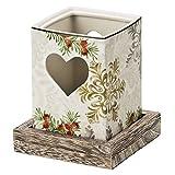 Hutschenreuther 02468-725692-24852 Winterromantik Tischlicht groß mit Holzsockel, Höhe 11 cm