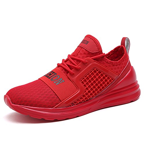 VITIKE Ashion Herren Ausbildung Schuhe Mesh Atmungsaktiv Turnschuhe Fitness Leicht Sport Laufen Schuhe(EU43-Rote) (Rote Pumpe Erwachsene Schuhe)