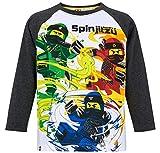 LEGO Ninjago Langarmshirt Jungen Lang Rundhalsausschnitt Shirt (Weiß-Grau, 116)