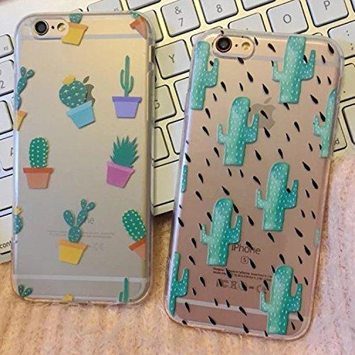 2 pezzi di Custodia per iPhone 7 4,7 pollici, Custodia protettiva posteriore in silicone morbido per iPhone 7 4,7 pollici case cover, cactus cactus