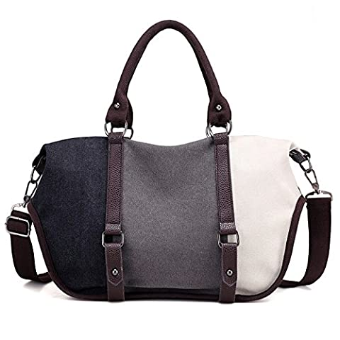 LOSMILE Damen Handtasche Canvas Umhängetasche Schultertaschen Kuriertasche Henkeltaschen Handgelenkstaschen Shopper Tasche. (Schwarz)