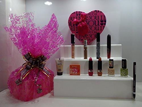 Panier de cadeau de Saint-Valentin pour elle ~ Rimmel London 10pc Luxury Beauty Box Panier cadeau Cadeau Emballé + Gratuit Rimmel Fond de teint ~ Panier cadeau pour elle. 433.