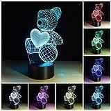 3D Illusion Geburtstag Nachtlicht, 7 Farben ändern Touch LED Lampe für Kinder Geburtstagsgeschenk (Bär)