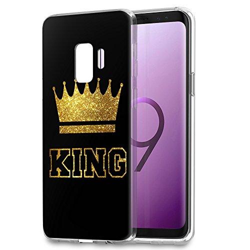 YOEDGE Samsung Galaxy S9 Plus Hülle, Ultra Dünn Schutzhülle Silikon mit Muster Personalisiert Queen King Krone Motiv Weich TPU Handyhülle Bumper Backcover für Samsung S9 Plus, King, Schwarz-Gold