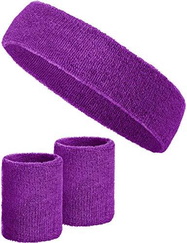 Kostüm Für Herren Sport - Balinco 3-teiliges Schweißband-Set mit 2X Schweißbändern für die Handgelenke + 1x Stirnband für Damen & Herren (Lila)