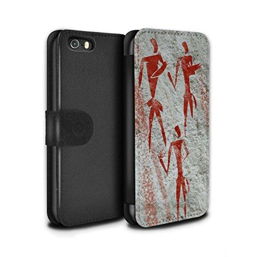 Stuff4 Coque/Etui/Housse Cuir PU Case/Cover pour Apple iPhone 5/5S / Pack 5pcs Design / Peinture Rupestre Collection Cueilleur/Rouge