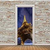 Türaufkleber 3D upview Effiel Handtuch Tür Wandaufkleber Schlafzimmer Wohnkultur Poster PVC Wasserdichte Tür Aufkleber 77x200 cm