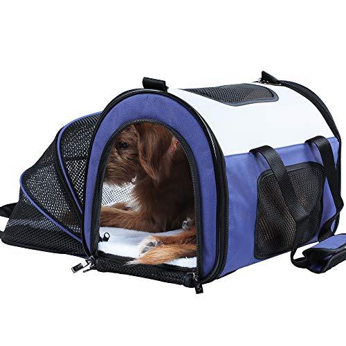 Petsfit Comoda borsa espandibile e pieghevole per trasportare animali domestici come cani e gatti, colore rosso, lati morbidi
