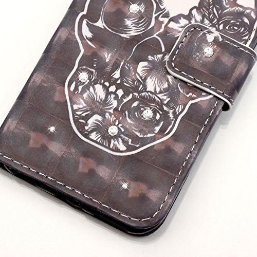 iPhone 8 Plus Hülle, STENES Glitzer Stilvoll Serie Kartenfach Standfunktion Magnet Ledertasche Wallet TPU Stoßfänger Schutzhülle für iPhone 7 Plus / iPhone 8 Plus - Bär Süßes Herz / Rosa Schädel Rose / Schwarz