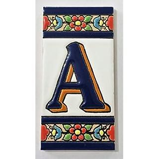 Buchstaben und Ziffern aus Keramikfliesen Blaue Blume. Maße: 11cm Höhe x 5,5cm Breite, hergestellt in Spanien. 11CM