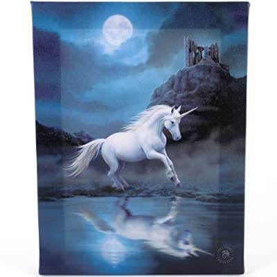 Fantastic Anne Stokes Moonlight Unicorn - A White Unicorn under the Moon Canvas Picture on Frame Wall Plaque / Wall Art produced by Anne Stokes - quick delivery from UK.
