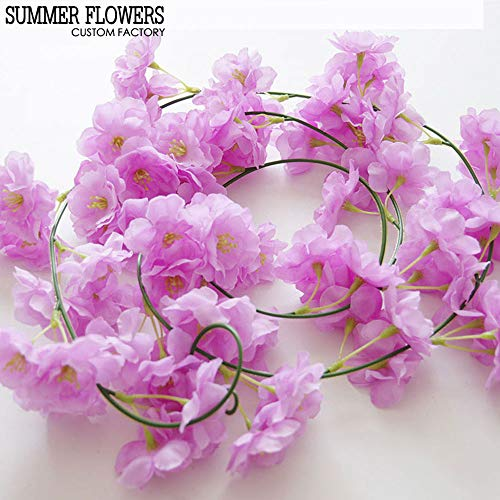 Sakura-Rebe-künstliche Blume 2M Imitat-Blume romantische künstliche Kirschblüten-Rebe gefälschte Sakura-Rebe-Festliche Verzierungs-Foto-Stützen 2M kreativ ()