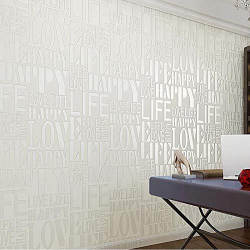 yhyxll Mode Liebe Englisch Buchstaben konkave dreidimensionale Vliestapete Bekleidungsgeschäft Dekoration Tapete -