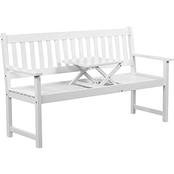 vidaxl gartenbank terassenbank mit integriertem klapptisch wei akazienholz k che. Black Bedroom Furniture Sets. Home Design Ideas