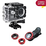 #9: Piqancy 3 in 1 Universal Clip Mobile Phone Lens Fish Eye with HD 1080P Cam Sports Action Camera Multiple Photo Shooting Modes
