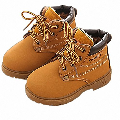 children Snow Boots Keep Warm Boots England Martin Boots Winter Shoes Rubber Soles, Boys Girls,Yellow,8