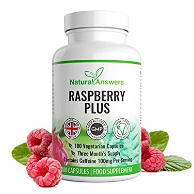 Raspberry Plus 180 Vegetarian Capsules 3 Month Supply UK Manufactured from Natural Answers Ingredients Include: Green Tea Extract, Caffeine Anhydrous, Apple Cider Vinegar, Kelp Powder, Raspberry Extract, Grapefruit Powder and More.