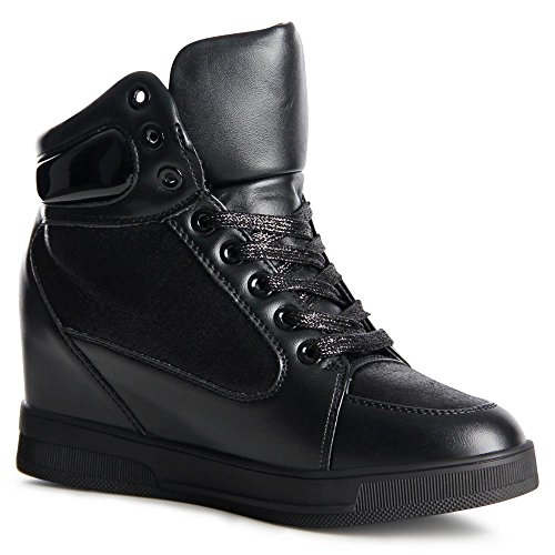 Sneaker 899 Schwarz Damen Wedges Topschuhe24 Hidden Keilabsatz nxAFRZq1w8