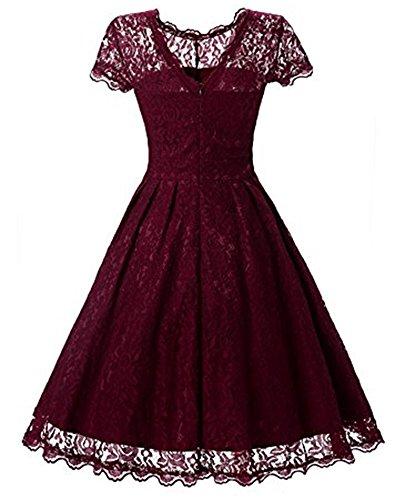 Whoinshop Damen Elegant Kleid Spitzenkleid Cocktailkleid Knielanges Vintage 50er Jahr hochzeit Partykleider Rot