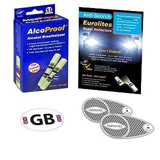 EUROLITES Scheinwerfer Beam Konverter Adapter Scheinwerfer + 2French alcoproof Twin + Alkoholtester schwarz & weiß GB National Aufkleber