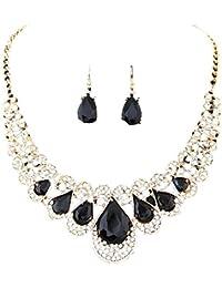 Fashion Necklace Women, Yogogo Cristal artificiel en argent plaqué chaîne Collier et boucles d'oreilles Set de bijoux