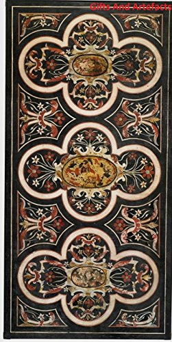 48 Zoll Breite Rechteckiger Tisch (182,9x 121,9cm schwarz Marmor Konferenz Cum Meeting Tisch Top Einlage Pietra Dura Design)