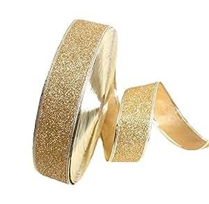 Milopon Weihnachten Satinband Weihnachtsbaum Hochzeit Glitzer Dekoband Draht Geschenkband 2M*5CM (Gold)