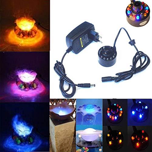 Qiorange 12 LED-Ultraschall-Nebel-Hersteller Fogger Wasser-Brunnen-Teich + Netzteil (Set A)