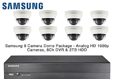 Samsung 8 Dome CCTV Cameras IR AHD 1080p 4mm Lens & 8CH Real-time DVR 2TB HDD