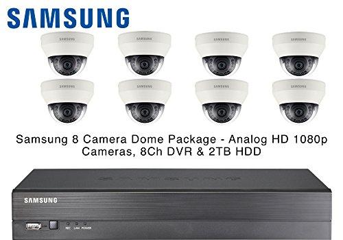Samsung 8 Dome CCTV Kameras IR AHD 1080p 4mm Objektiv & 8CH Echtzeit DVR 2TB HDD Hdd-echtzeit-dvr