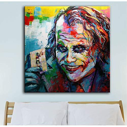 XWArtpic Amerikanischen superhelden Film Clown große bösewicht Heath Ledger Druck auf Leinwand Wandkunst Bild Die Joker Figur Malerei für Wohnzimmer Wohnkultur 40 * 40 cm