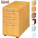 Bümö® Bürocontainer mit 4 Schüben & Schloss | Standcontainer mit Hängeregistratur aus Holz abschließbar | Container für Büro | Tischcontainer in 5 Dekoren (Buche)