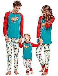 Pijamas de Navidad conjunto de ropa a juego de la familia Madre padre Boy Girl Deer impreso conjunto de 2 piezas Homewear