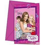 lot de 6 cartes d'invitations violetta pour anniversaire