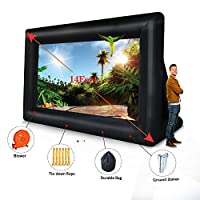 DAIRTRACK 14ft Inflatable Outdoor Projector Movie Screen - Package with Rope, Electric Blower ,Aluminium Stakes and Durable Bag - Great for Outdoor Party Backyard Pool Fun 14FT