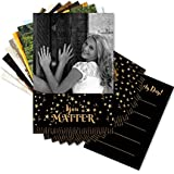 Clixicle Customized Birthday Cards - Set of 9 Cards - Black Gold Candles