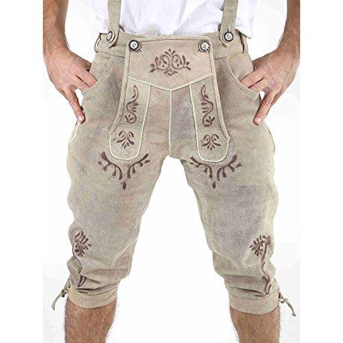 ALMBOCK Lederhose Herren lang | Kniebundhose beige mit aufwendigen Stickereien | Trachtenhose Herren vintage - Trachtenhose 46