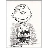 Original Kreidezeichnung auf Zeichenkarton: Peanuts Charlie Brown / 24x32 cm