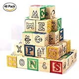 #8: Okayji Wooden Alphabet Building Blocks Toys - ABC/123 Learning, Counting, Stacking Number Toddlers Children Cube Figure Blocks, 48- Pieces