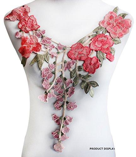 1 pièce Long Correctifs de fleur en dentelle brodée décolleté col Venise Applique Motif Scrapbooking Coupe patches à coudre Accessoires rose