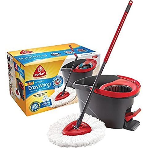 3 Pc. Built-in Wringer and High-Quality Foot Pedal Microfiber EasyWring Spin Mop & Bucket System, Red/Black by O-Cedar