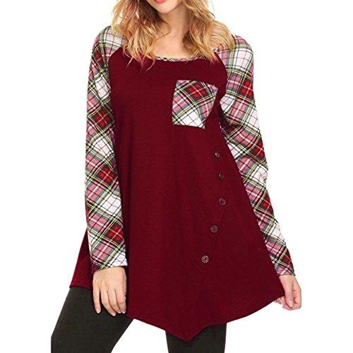 Longra Damen Bluse Festliche Blusen Karierte Bluse Damen Schöne Kleider Elegante Oberteile Kleidung Damenmode Tunika Oversize Knopf Langarmshirt Blusenshirt T-Shirts Tops (Red, L) (Cotton Belted Bluse)