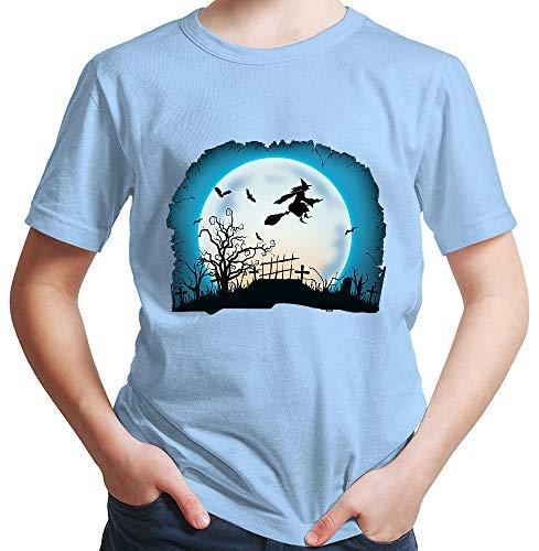 HARIZ  Jungen T-Shirt Hexe Mond Fliegen Halloween Kostüm Horror Karneval Plus Geschenkkarten Himmel Blau 116/5-6 Jahre