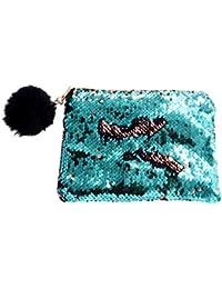 N/ützlich und praktisch Meerjungfrau Pailletten Federm/äppchen Reversible DIY Kleine Make-up Taschen Beutel Gr/ün + Schwarz