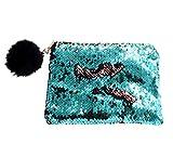 Xinyanmy Reversible Pailletten Kosmetiktasche Multifunktional Glitter Makeup Pouch Meerjungfrau Schminktasche mit Reißverschluss Schminke Mäppchen für Mädchen Frauen