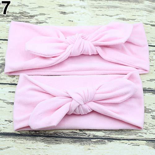 (Steellwingsf 2 Stück/Paar Kinder Mädchen Mutter Tochter Kaninchen Ohren Schleife Stirnband für Frauen Mädchen Mädchen elastisch)