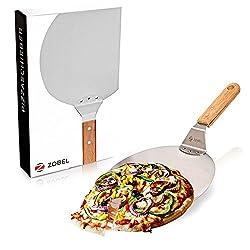 Zobel Pizzaschieber - Edelstahl Pizzaschaufel für eine extra angenehme Handhabung - Robuster Brotschieber mit Holzgriff für einen perfekten Halt I Flammkuchenbrett I Pizzaheber
